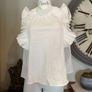 NWT SEA NYC RUFFLE BLOUSE WITH FLUTTER SLEEVE 6